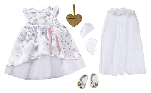 Zapf Creation 827161 BABY born Boutique Deluxe Braut Outfit Puppenkleidung 43 cm, weiß