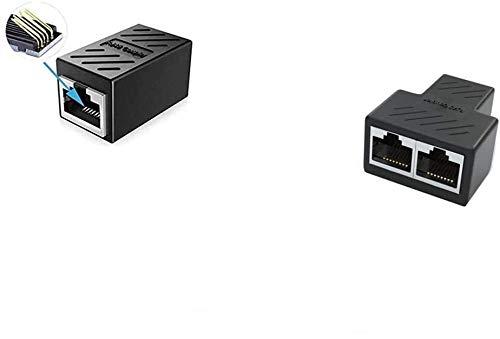 YOUBO Adaptador de Conector 1 a 2 vías RJ45 Ethernet LAN Red Divisor Doble Adaptador Puertos acoplador Extensor de Conector Adaptador Enchufe