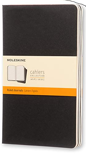 """Moleskine Cahier Journal, Soft Cover, Large (5"""" x 8.25"""") Ruled/Lined, Black, 80 Pages (Set of 3)"""
