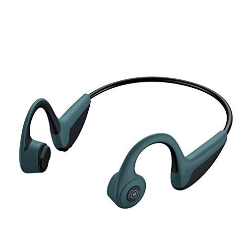 ZZBB Auriculares inalámbricos de conducción ósea con Bluetooth 5.0, auriculares deportivos a prueba de sudor con micrófono para conducir, correr, gimnasio, uso en casa y oficina, verde