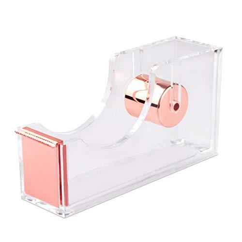 Desktop Clear Rose Gold Tape Dispenser, Acrylic Nonslip Tape Cutter Heavy Duty Modern Design Office Stationery Tape Dispenser (Rose Gold)