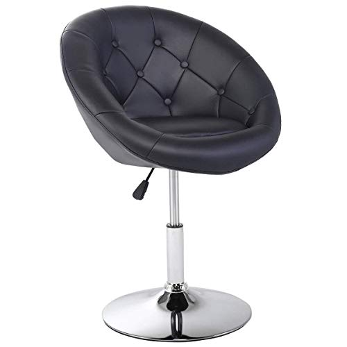 Casart Swivel Accent Chair Tufted Round-Back Tilt Chrome Contemporary Round (Black)