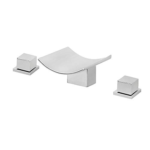 AOEIUV Wasserfall Waschtischarmatur Dreiloch-Doppelgriff Waschtisch Mischbatterie Messing Chrom Badarmatur Wasserhahn mit Warmes und Kaltes Wasser für Badzimmer,Chrome