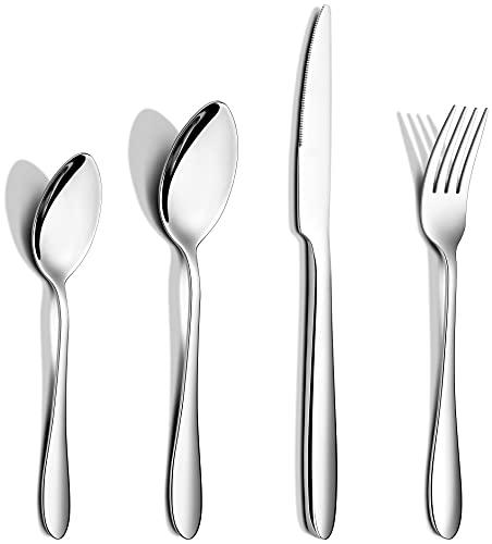 AIKKIL Besteckset, Besteck-Besteckset aus Edelstahl, Geschirr, Essgeschirr, einschließlich Messer / Gabeln / Löffel, hochglanzpoliert, spülmaschinenfest (48)