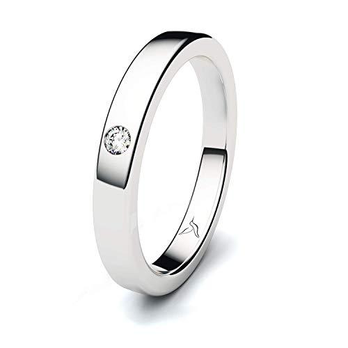 Damen Massiv Silber 925 Ring Zirkonia Memoire Solitär 100% Made in Germany - Inkl Gratis Gravur und Etui (1 Zirkonia)