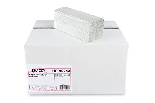 Quicky Papierhandtuch, C-Falz, 25 x 23 cm, 2lag, rec. grau, 4000 Blatt, 1er Pack (1 x 1 Stück), HP-99042, braun, 25 x 31 cm