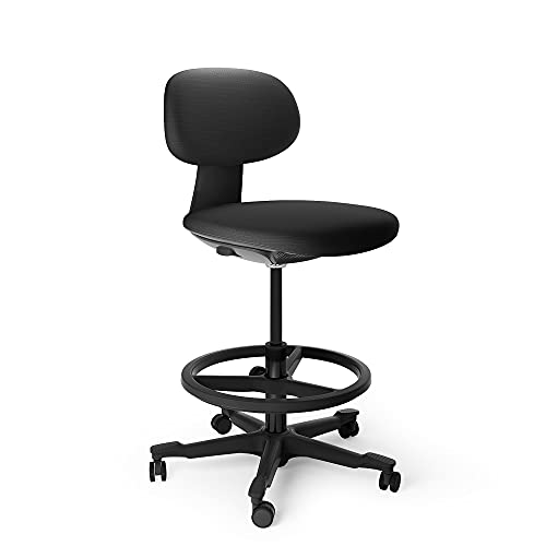 Multi-Purpose Adjustable Office Drafting Chair with Ergonomic Backrest & Foot Rest, ALFA FURNISHING Tall Counter Height Bar Stools,Rolling Stool with footrest and Wheels – Black