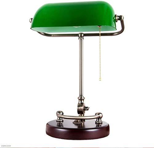 Bedside tegenlicht Classical Bank tafellamp Antique American Bank Lamp Study Room Bureau Slaapkamer Nachtlampjes European Green Cover Eye Table Lamp Groen Cover Trekschakelaar Modern Europese E27
