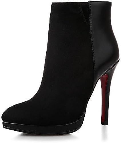 XZZ  Chaussures Femme Femme Femme - Décontracté - Noir   Rouge - Talon Aiguille - Bout Pointu - Bottes - Similicuir 40a
