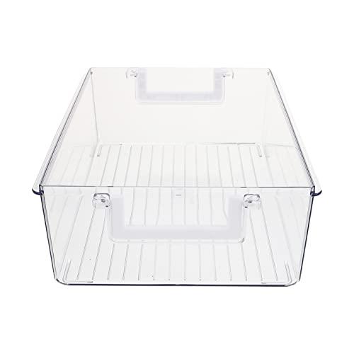 Contenedores Organizador de Refrigerador Cajón de La Nevera: Congelador Bandeja de Extracción Caja de Drenaje de Frutas de Verduras Transparente con Mango para Armarios de