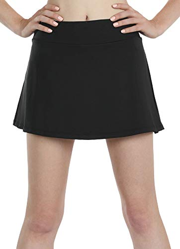 icyzone Athletic Skirts for Women - Workout Running Golf Tennis Skort with Pockets (S, Black)