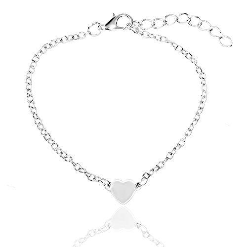xingguang Pulsera de cadena fina de oro simple pulsera de moda sexy ajustable amor en forma de corazón pulsera colgante (color metal: plata)