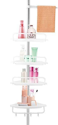 Estante de esquina para baño, ducha, estante organizador de torre, de plástico blanco