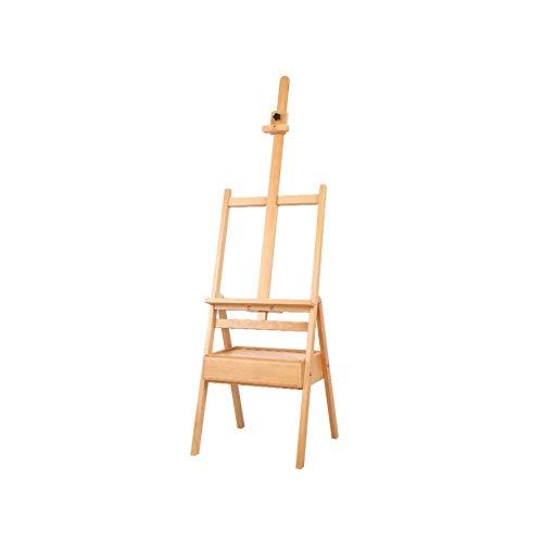 WCJ Einfach und tragbare Künstler Staffelei, Einstellbare Höhe Buchenholz Malatelier Zeichnung Ständer Anzeigen-Halter mit Schublade for Malen, Zeichnen