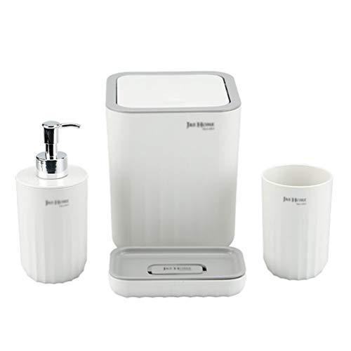 MisFox Juego de 4 Accesorios de Baño Set de Baño con Patrón de Ondas Que Incluye Dispensador de Jabón, Cubo de Basura, Jabonera, Vasos de Plástico