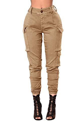 DRESSMECB Women's Casual Zipper Closure Cargo Pants with Pockets Khaki Medium