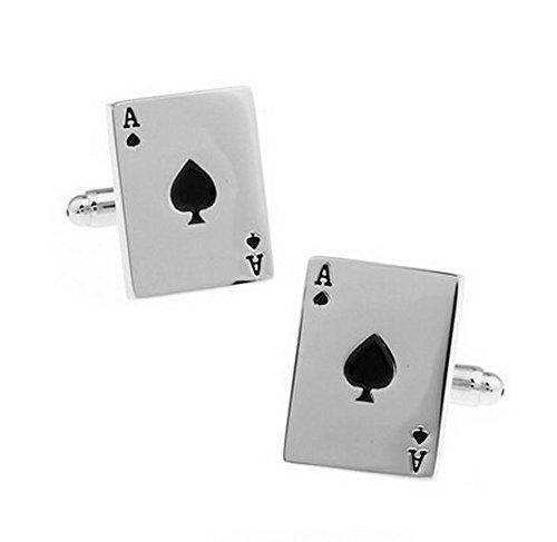 Toruiwa Gemelos Camisas Barajas de Cartas Mancuernas para la Camisa para Hombre Botones del Pun o de Cobre Gemelos Poker Alta Calidad Joyería de Moda Marca Diseño 1.5 * 2.0cm