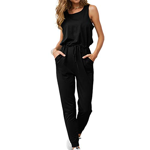 TSWRK Dames Jumpsuit Elegant Overall zomer mouwloos Playsuit eendelig lange Romper broek