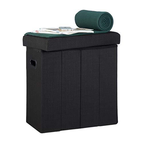 Relaxdays Faltbarer Sitzhocker, HxBxT: 49,5 x 46 x 25,5 cm, mit Stauraum, Griffe, Leinen, Polyester, MDF, schwarz
