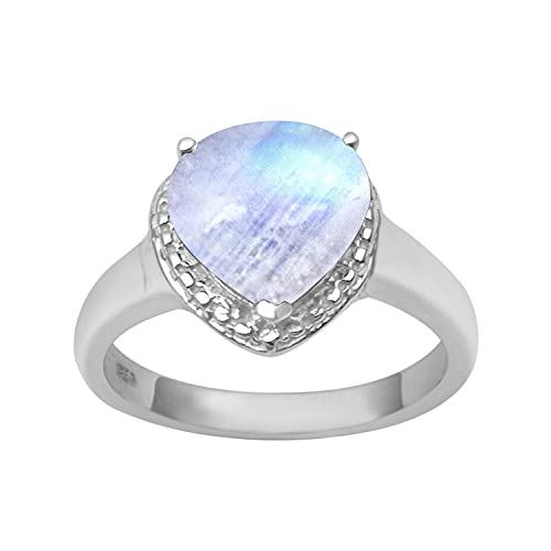 Shine Jewel Multi Elija su Anillo de Promesa de Solitario en Forma de corazón de 1,25 Ctw de Plata de Ley 925 con Piedras Preciosas (11, Piedra de la Luna)
