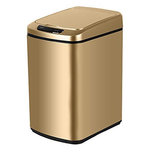 Ztong Papelera con sensor para residuos de cocina, tapa de detección de movimiento LED automática, gran capacidad de 9 l, cuerpo de metal robusto con acabado de acero inoxidable, color dorado