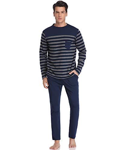 Aibrou Herren Schlafanzug Pyjama Lang Gestreift Winter Baumwolle Nachtwäsche Langarm Rundhals Blau1 XL