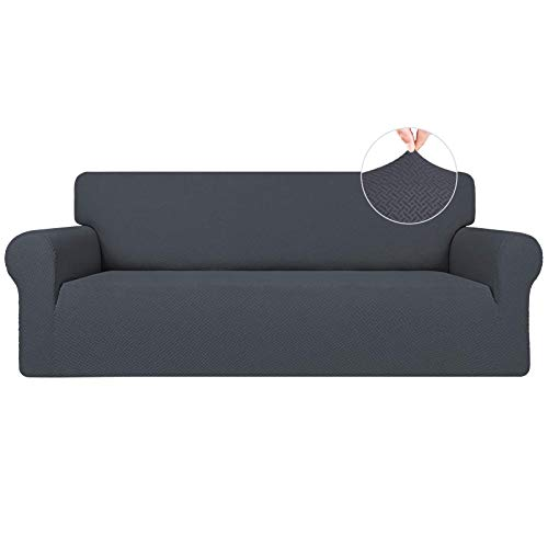 Easy-Going Stretch Jacquard Couch Cover, 1-Piece Soft Sofa Cover, Sofa Slipcover with Anti-Slip Foams, Washable Furniture Protector for Kids, Dogs, Cats ( Sofa, Dark Gray)