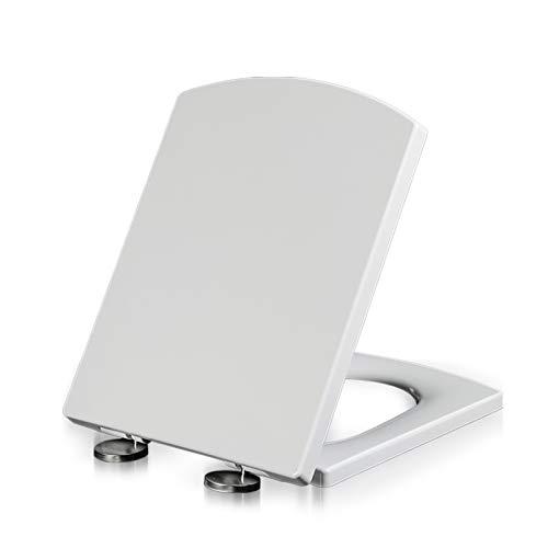 Asiento de inodoro de forma cuadrada, cierre suave, tapa extraíble y fácil de limpiar, asientos de inodoro con bisagras ajustables, liberación rápida
