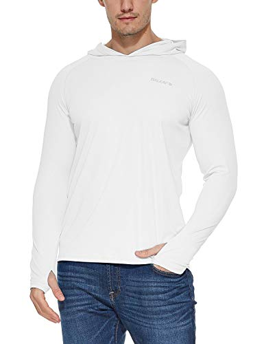 BALEAF Men's UPF 50+ Sun Protection Athletic Workout Long Sleeve Performance Hoodie T-Shirt White Size L