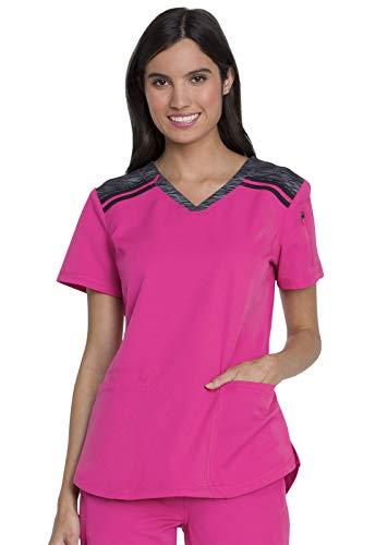 Dickies Dynamix Women Scrubs Top V-Neck Plus Size DK740, 3XL, Hot Pink
