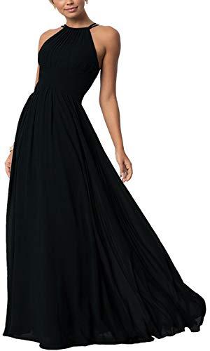 Aofur Womens Sleeveless Party Wedding Dresses Evening Cocktail Prom Gown Summer Chiffon Maxi Dress (Small, Black) (Apparel)