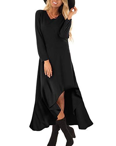 Auxo Mujer Vestido Negro Largo Elegante Vestidos Color Liso con Manga Larga Asimétrica de Fiesta Cóctel Boda Invierno 03-Negro XXL