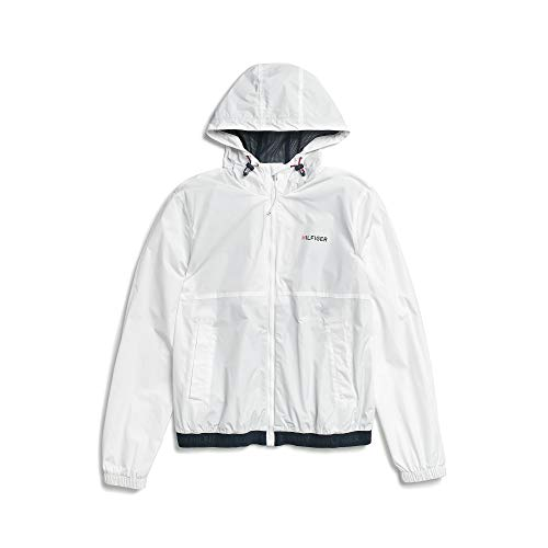 Tommy Hilfiger Adaptive Men's Rain Jacket with Magnetic Zipper, Bright White, LG