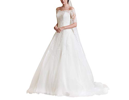 Elegant Damen Hochzeitskleider Lang Spitzen Brautkleider Tülle A-Linie Brautmode mit Schleppe Elfenbein 54