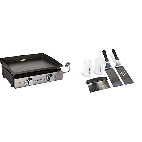 Blackstone 1666 22' Tabletop Griddle Outdoor Grill, 22 inch, Black & 1542 Griddle Accessory Tool Kit, Multicolor