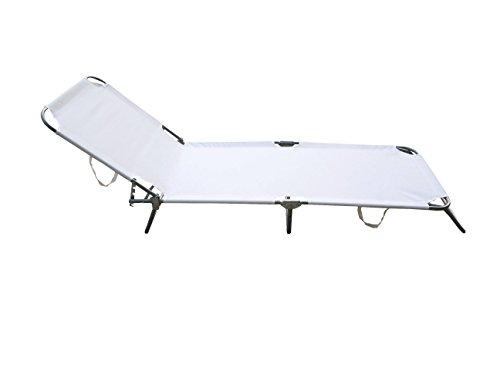 Lettino da mare pieghevole Maiorca In acciaio e PVC 600d Colore bianco, misure: 188x55x24h, Garden Friend