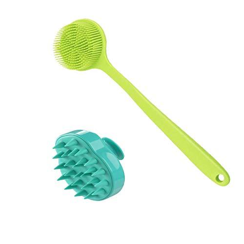 Silikonbürste für Dusche, Kopfhaut-Massagegerät, Shampoo-Bürste, langer Griff, Rückenbürste, Peeling, Körperschrubber, Rückenschrubber für Dusche, Haarschuppen-Shampoo-Bürste für Männer, Frauen und Haustiere, 2 Stück