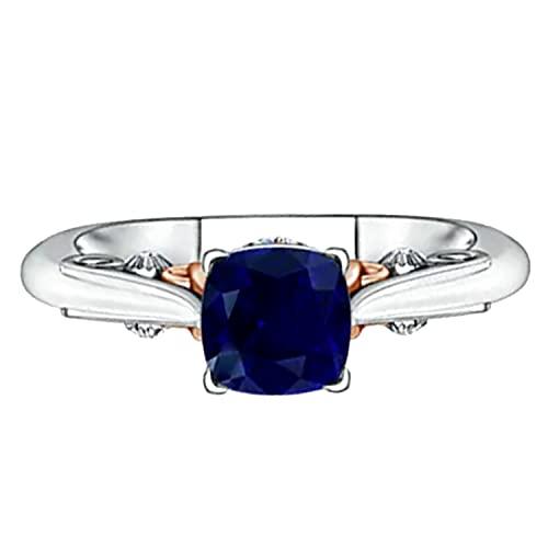 Solitario Anillo de compromiso de dos tonos de oro blanco de 9 quilates con piedras preciosas de zafiro azul de 1.30 quilates (21)