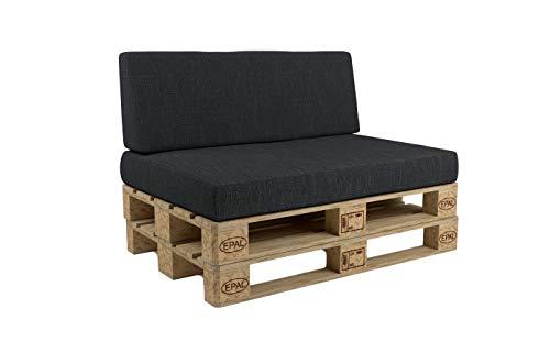 POKAR Cuscino per Pallet sfoderabile, Set di 2: 1x Cuscino per Seduta 120x80cm + 1x Cuscino per Schienale 120x40cm, Divano per Pallet con Cuscino per Pallet, Senza Pallet, Antracite