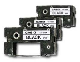 Casio Black Ribbons for All CW Disc Title Printers, 3 Pack TR-18BK-3P