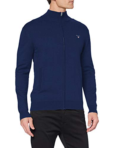 GANT Herren Cotton Wool Zip Cardigan Pullover, Marine Melange, L