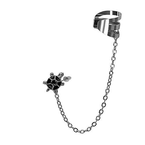 SoulCats Labbro auricolare con catenella in acciaio inox in argento, modello 1