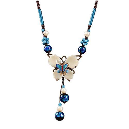 zxb-shop Collar Shell de la Mariposa de la Vendimia Collar Azul Colgante de la Manera clavícula Cadena de Accesorios for Damas Cuerda Doble Hebilla (Colgante Longitud 3,2 Pulgadas) Collar Mujer