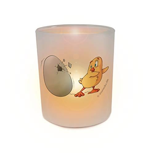INWIEDU - Teelichthalter Windlicht Glas Küken und Ei - Glas 180 ml - Größe Ø 70 H 80 mm, Gewicht 240 g, Volumen 180 ml - Teelicht Windlichthalter Stimmungslicht