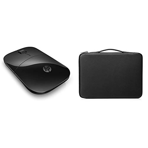 HP Duotone 14 Inch (35.5 cm) Black & Silver Carry Sleeve for Laptop/Chromebook/Mac & Z3700 Black 2.4 GHz USB Slim Wireless Mouse with Blue LED 1200 DPI Optical Sensor, Up to 16 Months Battery Life