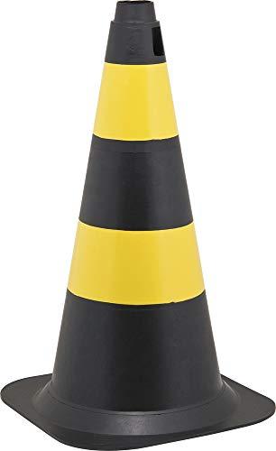 Cone de Sinalização com 50 cm, Preto e Amarelo, em Polietileno, Vonder VDO2292