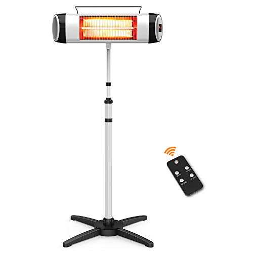 Flamemore Electric Outdoor Patio Heater Standing Carbon Infrared heater with Adjustable Stand Remote Control 24H Timer, 1500W Fast Heating Waterproof Tip-over protection for Garage Balcony Backyard