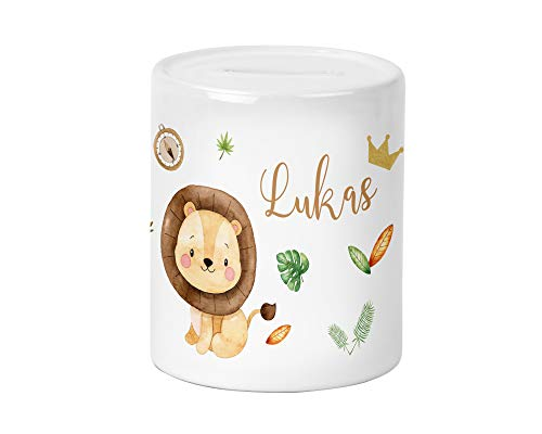 Yuweli Safari Löwe Kinder-Spardose für Jungen und Mädchen mit Namen personalisiert zur Einschulung Taufe Geburtstag Geburt Sparschwein Geldgeschenk
