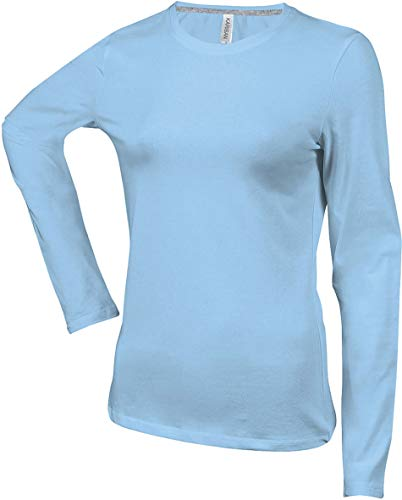 Kariban T-Shirt COL Rond Manches Longues Femme - Sky Blue, XXL, Femme