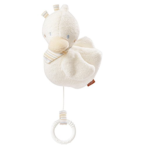 Fehn 154856 Spieluhr Ente / Aufzieh-Spieluhr mit herausnehmbarem Spielwerk zum Aufhängen, Kuscheln und Greifen, für Babys und Kleinkinder ab 0+ Monaten